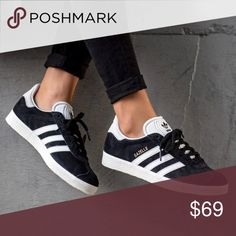 24fedaf6 Adidas gazelle black sneakers New with nox Size youth fits womens size Size  yputh 7 fits womens size 9 White/ Black adidas Shoes Sneakers