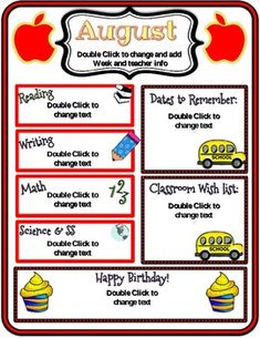 CUTE August Newsletter. I have included 8 EDITABLE (in powerpoint) options for the month of August:1.Monthly Newsletter with the month listed at the top, a place to add your own information (date, grade, teacher name, email, etc.), and a place to type in information for reading, writing, math, science and social studies, important dates, classroom wish list, and birthday box!2.Same as above, just with a cute chevron print background to go along with the monthly theme!3.Same as option 1-with…