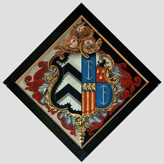 Hatchment for a member of the Staunton family in St Mary's Church, Warwick, England Dance Rooms, Crests, Coat Of Arms, Funeral, Black Backgrounds, Warwick England, Stained Glass, Knight, Symbols