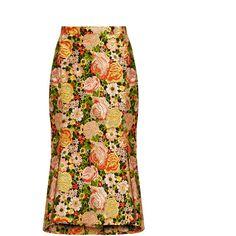 Balenciaga Kick-hem embroidered silk skirt (236,100 INR) ❤ liked on Polyvore featuring skirts, balenciaga, white skirt, white knee length skirt, knee length flared skirts, flared skirts and floral knee length skirt
