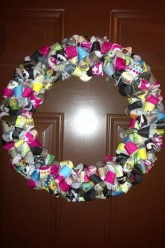 Wreath with old Thirty One fabric swatches.
