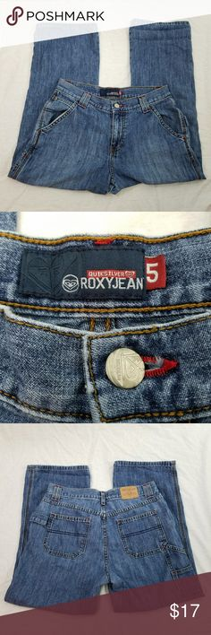 Roxy Jean Denim Capris Excellent condition but very loved. These are super cute and have red threading for accent. These look great rolled. Make me an offer! :) Roxy Pants Capris