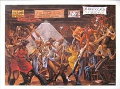 """""""Sugar Shack"""" print by Ernie Barnes  (Remember this on Marvin Gaye's Album cover?)"""