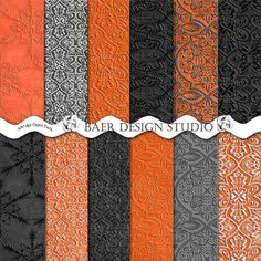 Embossed digital paper in black and orange, black and white, textured panels for creating Halloween layouts, Halloween planner stickers, Halloween invitations, and more