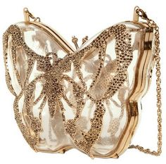 Valentino Jewel Plexiglass Butterfly Clutch in Gold (transparent) - Lyst