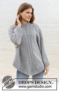 Northern exposure / DROPS - free knitting patterns by DROPS design . Northern exposure / DROPS - free knitting patterns by DROPS design Knitted poncho sweater with raglan . Knitting Terms, Knitting Patterns Free, Free Knitting, Free Pattern, Crochet Patterns, Jumper Patterns, Drops Patterns, Vogue Knitting, Poncho Pullover