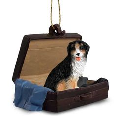 Hand Painted Bernese Mountain Dog Figurine Traveling Companion in a Suitcase