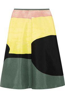 Marni Printed cotton and silk-blend skirt   NET-A-PORTER