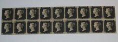 Stamp Pickers Great Britain 1840 Victoria Penny Black x 18 Old Forgery Sc Penny Black, Great Britain, Auction, Victoria, Stamp, Stamps