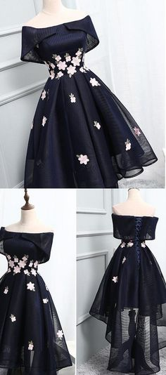 Applique Homecoming Dresses, Black A-line/Princess Prom Dresses, Short Black Prom Dresses, 2017 Homecoming Dress Chic Black Asymmetrical Short Prom Dress Party Dress A Line Prom Dresses, Cheap Prom Dresses, Long Dresses, Short Black Dresses, Black Homecoming Dresses, Short Gowns, Dresses Dresses, Short Hair Styles Black, Prom Dresses Flowers
