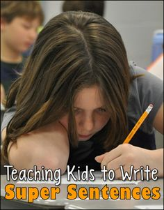 Teaching Kids to Write Super Sentences - Strategies and free seasonal printables to encourage students to add detail to their sentences. A really great resource on writing sentences Writing Classes, Writing Lessons, Writing Workshop, Teaching Kids To Write, Teaching Writing, Teaching Resources, Writing Resources, Teaching Ideas, Writing Services