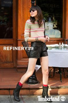 Mixed Textures with Timberland Stratham Heights Wedge Mid Boot (Photo credit: Marc Iantosca; @Refinery29)