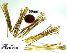 50 Kettelstifte 50mm Nietstifte mit Öse gold   von Schmuckmaterial