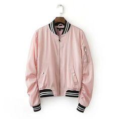 $27.33 Harajuku Thin Pink Baseball Jacket Spliced Bomber Jacket Coat Pilots Outerwear #Unbranded #BaseballJacket
