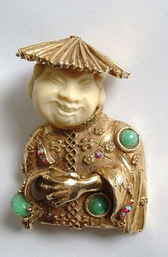 Vintage Signed Har Buddha Laughing Chinaman Brooch Very Nice Estate Jewlery | eBay