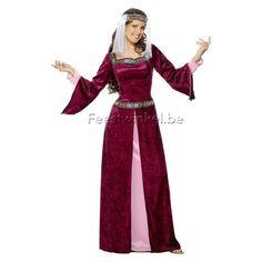 Kostuums: Maid Marian bordeaux
