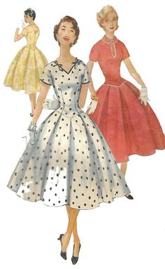 "Vintage 1950's Sewing Pattern Rockabilly Long Line Bodice Dress Bust 32"" #Simplicity"