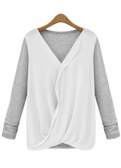 Laconic Color Block V Neck Long Sleeve T Shirt