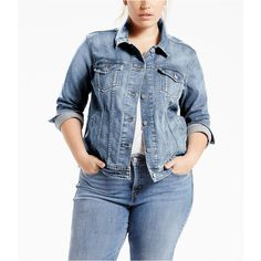 The iconic jacket you know and love. Complete any look with this cute and comfortable Plus Size Levi's Denim Trucker Jacket. Plus Size Outerwear, Plus Size Coats, Plus Size Fashion For Women, Plus Size Women, Denim Fabric, Fashion Branding, Plus Size Outfits, Button Up Shirts, Jackets