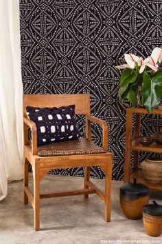 9 Decorating Ideas using Trendy Tribal Batik Stencils from Royal Design Studio (Wallpaper Wall Stencils, Painted Furniture Stencils, Craft Project Stencils)