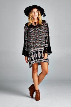 Geometric Crochet-Accent Tunic