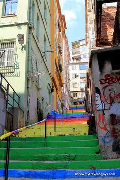 The rainbow-painted staircase leading from Fındıklı to Cihangir  in Istanbul, Turkey. #direnmerdiven  #direngökkuşağı