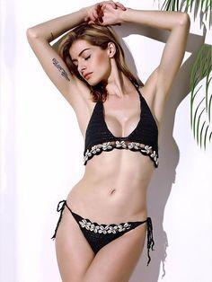 605a5e149a Sexy Halterneck Knitting Shells Decorated Two-Pieces Bikini Swimwear –  chicbohodress Bikini De Dos Piezas