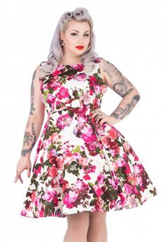 a36a7ffa6f908 Audrey Cream Floral Dress from HR London features a pretty print of pink