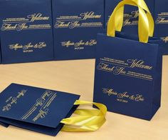 35 Wedding Favor Bags with satin ribbon handles & custom names, Elegant Personalized Navy Blue and G Wedding Gift Baskets, Wedding Favor Bags, Wedding Favors For Guests, Gifts For Wedding Party, Wedding Thank You, Wedding Door Hangers, Wedding Doors, Destination Wedding Welcome Bag, Wedding Welcome Bags