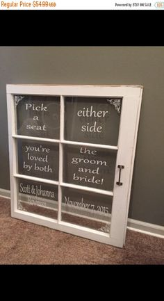 ON SALE Pick a seat not a side - either side - pick a seat sign - rustic wedding signs - 6 pane window - wedding picture frame - wedding sig by SandJBargainVault on Etsy https://www.etsy.com/listing/515049993/on-sale-pick-a-seat-not-a-side-either