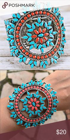 Turquoise & Corral Statement Bracelet Brand new turquoise & Corral large Statement stretch bracelet. Boho, bohemian, hippie, gypsy, tribal, Aztec, Navajo, southern, southwest, western, rodeo, cowgirl style. Jewelry Bracelets