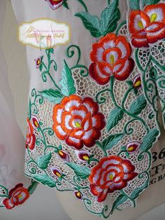 Size XL: Peranakan Nyonya Kebaya with thick embroidery | Etsy Embroidery Neck Designs, Cutwork Embroidery, Hand Embroidery Tutorial, Embroidery Suits Design, Embroidery Fashion, Hand Embroidery Patterns, Cutwork Saree, Embroidery Suits Punjabi, Embroidery Materials