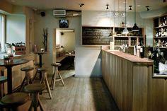 Latva Bar - Arkkitehtuuritoimisto Valvomo OyArkkitehtuuritoimisto Valvomo Oy Next Door, Great Restaurants, Wine And Beer, Helsinki, Barista, Table, Furniture, Design, Home Decor