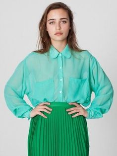American Apparel Chiffon Oversized Button-Up, (sexy, lingerie, sheer, dov charney sexually harasses women, american apparel, bra, lace, dress, dresses, dresses for women)