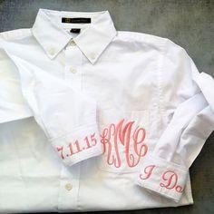 Monogrammed Bridal Shirt For Wedding Day by HeatherStrickland Elegant Monograms Monogram button down bridal oxford shirt Wedding Trends, Wedding Styles, Wedding Photos, Bridal Shirts, Dream Wedding, Wedding Day, Monogram Shirts, Marrying My Best Friend, Boyfriend Shirt