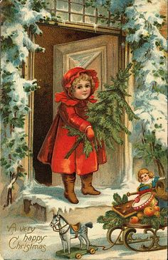 """A Very Happy Christmas"". Little girl with red coat, holding xmas tree. Sleigh with toys."