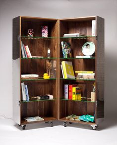 Folding and Mobile Bookshelf in Mirror Finish Stainless Steel by Li Naihan 2
