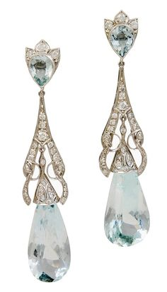 Art Deco Diamond Aquamarine Teardrop Earrings