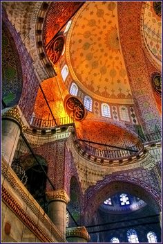Iznik tiles, gold and marble decorate the interior of the Yeni Camii Mosque ('New Mosque'), Instanbul. Built early 17th century by Da'ud Aga, a pupil of Sinan.   - Johna Beall Real Estate in Seattle