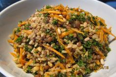 Brown Rice salad with lentils carrot and parsley