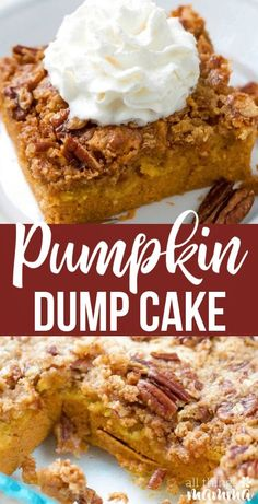 This quick and easy pumpkin dump cake is your next go-to fall dessert. Dump cakes recipes are so versatile and are perfect for serving a crowd or whipping up a quick dessert to feed your family as a treat. An easy pumpkin recipe that is a no-fail recipe. Fall Dessert Recipes, Desserts For A Crowd, Party Desserts, Recipes Dinner, Cake Mix Desserts, Dump Cake Recipes, Recipe For Dump Cake, Food Cakes, Savoury Cake