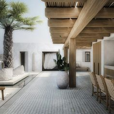 Residence in Mykonos II – Patio - Modern Patio Interior, Interior And Exterior, Outside Living, Outdoor Living, Style At Home, Modern Patio Design, Design Exterior, Outdoor Spaces, Interior Architecture