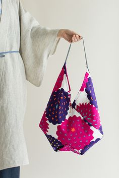"""New """"Origami"""" shaped tote bag, made of Bizen Weaving Cotton printed in Kyoto, Japan. #totebag #tote #bag #origami #kyoto #japan #style #fashion #womenswear #accessories #textile, #pattern, #fabric"""