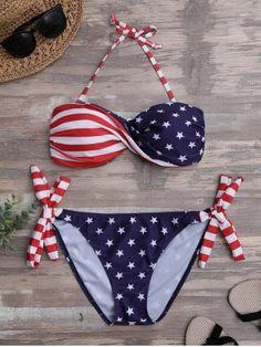 874d605230f Twist Bandeau Padded American Flag Patriotic Swimwear. Bikini Tops ...