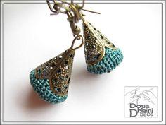 Gris & beige pendientes Crochet Jasper por DouaMainiDibace en Etsy