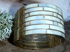 Vintage Bracelet Cuff Mother of Pearl and Brass Pin Closure