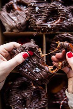 Salted Caramel Chocolate Covered Pretzels | halfbakedharvest.com @hbharvest