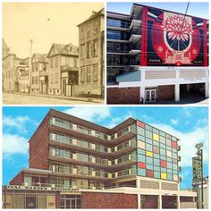 The Downtowner Motor Inn was constructed in 1963 (bottom) and is now used as as a dormitory at the College of Charleston, College Lodge (shown upper right with the art installation by Shepard Fairey on the Calhoun Street facade). Upper left: the location of this site in 1892.