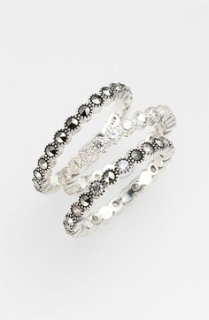 Judith Jack 'Starlight' Stackable Rings (Set of I Love Jewelry, Jewelry Box, Jewelry Accessories, Fashion Accessories, Fashion Jewelry, Jewelry Design, Marcasite Jewelry, Silver Jewellery, Stackable Rings