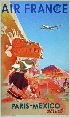 Vintage Poster: AIR FRANCE / PARIS - MEXICO  Artist: S. PROUT  Circa: 1952  Origin: France
